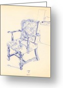 Ball Point Pen Greeting Cards - Chair Greeting Card by Ron Bissett
