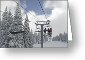 Winter Sports Photo Greeting Cards - Chairlift at Vail Resort - Colorado Greeting Card by Brendan Reals