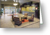 Reception Room Greeting Cards - Chairs and Tables in Hotel Lobby Greeting Card by Andersen Ross