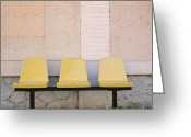 The Station Greeting Cards - Chairs Greeting Card by Bernard Jaubert