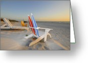 Colorful Photography Greeting Cards - Chairs on the beach Greeting Card by David Lee Thompson