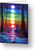 California Painting Greeting Cards - Chakra Meditation in the Redwoods Greeting Card by Laura Iverson
