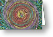 Vortex Greeting Cards - Chakra Swirl Greeting Card by Vijay Sharon Govender