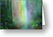 Healing Art Greeting Cards - Chakra Waterfalls Greeting Card by Carol Cavalaris