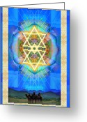 Chalice Greeting Cards - Chalice Synthesis Star over Three Kings Holiday Card  VI Lt Greeting Card by Christopher Pringer