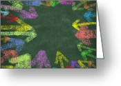 Recycling Photo Greeting Cards - Chalk Drawing Colorful Arrows Greeting Card by Setsiri Silapasuwanchai