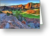Golf Green Greeting Cards - Challenge Greeting Card by Scott Mahon
