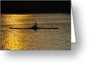 Rowing Crew Greeting Cards - Challenge Yourself Greeting Card by Bill Cannon