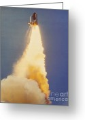 Space Ships Greeting Cards - Challenger Lift-off Greeting Card by Science Source