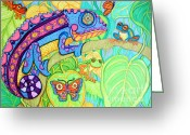 Rain Drawings Greeting Cards - Chamelion and Rainforest Frogs Greeting Card by Nick Gustafson
