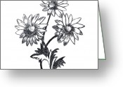 Narcissus Drawings Greeting Cards - Chamomile flowers sketch Greeting Card by Alexei Toiskin