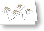 Yellow Drawings Greeting Cards - Chamomile Greeting Card by Frank Tschakert