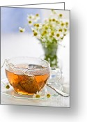 Bag Greeting Cards - Chamomile tea Greeting Card by Elena Elisseeva