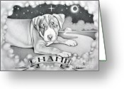Clouds Drawings Greeting Cards - Champ Greeting Card by Robert Ball