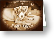 Pit Bull Greeting Cards - Champ Sepia Greeting Card by Robert Ball