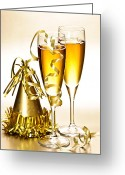 Ribbons Greeting Cards - Champagne and New Years party decorations Greeting Card by Elena Elisseeva