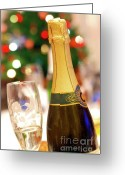 Xmas Greeting Cards - Champagne Greeting Card by Carlos Caetano