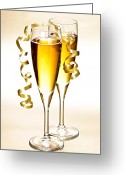 Ribbon Greeting Cards - Champagne glasses Greeting Card by Elena Elisseeva