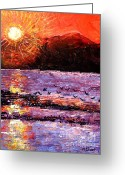 Carolinestreet Greeting Cards - Champagne Sunset.  Greeting Card by Caroline Street