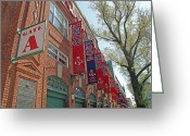 Red Sox Baseball Greeting Cards - Championship Banners Greeting Card by Barbara McDevitt
