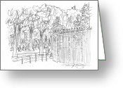 City Scene Drawings Greeting Cards - Champs Elysee Gate Greeting Card by Marilyn MacGregor