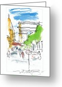 City Scene Drawings Greeting Cards - Champs Elysee Paris Greeting Card by Marilyn MacGregor