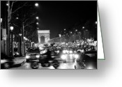 Black And White Photos Painting Greeting Cards - Champs Elysees Photos Paris Black and White Photography  Greeting Card by Tommy Turner