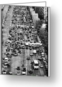 Champs Elysees Greeting Cards - Champs Elysees Traffic Greeting Card by John Rizzuto
