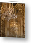 Versailles Greeting Cards - Chandelier at Versailles Greeting Card by Georgia Fowler