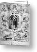 World Tour Greeting Cards - Chang And Eng Bunker, The Original Greeting Card by Science Source