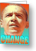 Barack Obama Mixed Media Greeting Cards - Change - Barack Obama Poster Greeting Card by Peter Art Prints Posters Gallery