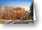 Sheds Greeting Cards - Change of Seasons Greeting Card by Lois Bryan
