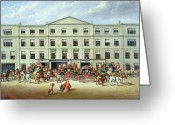 Coaching Greeting Cards - Changing Horses outside the Plough Inn Greeting Card by JC Maggs