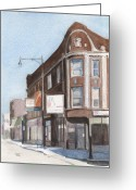 Small Works On Paper Greeting Cards - Changing Neighborhoods Greeting Card by Karen Perl