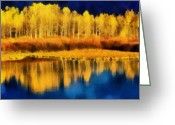 Winter Trees Digital Art Greeting Cards - Changing Seasons Greeting Card by Russ Harris