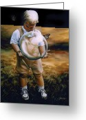 Overalls Greeting Cards - Changing the World Greeting Card by Patricia Jensen