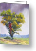 Autumn Leaves Pastels Greeting Cards - Changing Weather Changing Tree Greeting Card by Christine Kane