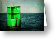 Coast Guard Greeting Cards - Channel Marker 77A Greeting Card by Rebecca Sherman