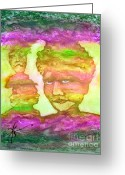 Two-faced Greeting Cards - Channeling Spirits Greeting Card by Linda May Jones