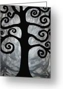 Black And White Greeting Cards - Chaos Tree Greeting Card by Angelina Vick