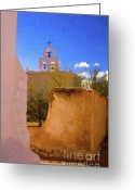 Tucson Arizona Digital Art Greeting Cards - Chapel at San Xavier 2 Greeting Card by Steve Bailey