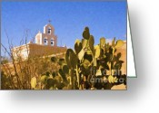 Tucson Arizona Digital Art Greeting Cards - Chapel at San Xavier 3 Greeting Card by Steve Bailey
