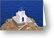 Martyrs Greeting Cards - Chapel in Sifnos island Greeting Card by George Atsametakis