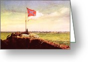 Carolina Greeting Cards - Chapman: Fort Sumter Flag Greeting Card by Granger