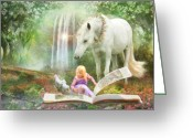 White White Horse Digital Art Greeting Cards - Chapters Greeting Card by Trudi Simmonds
