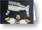 Stanley Cup Greeting Cards - Chara and The Cup Greeting Card by Betty-Anne McDonald