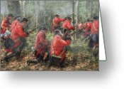 Mohawk Greeting Cards - Charge of the 60th Royal Americans Regiment at Bushy Run Greeting Card by Randy Steele
