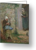 Alms Greeting Cards - Charity Greeting Card by Camille Pissarro