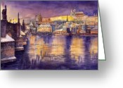 Town Painting Greeting Cards - Charles Bridge and Prague Castle with the Vltava River Greeting Card by Yuriy  Shevchuk