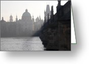Cityspace Greeting Cards - Charles bridge at early morning Greeting Card by Michal Boubin
